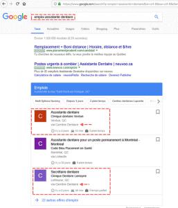 Google Jobs et Carrière Dentaire